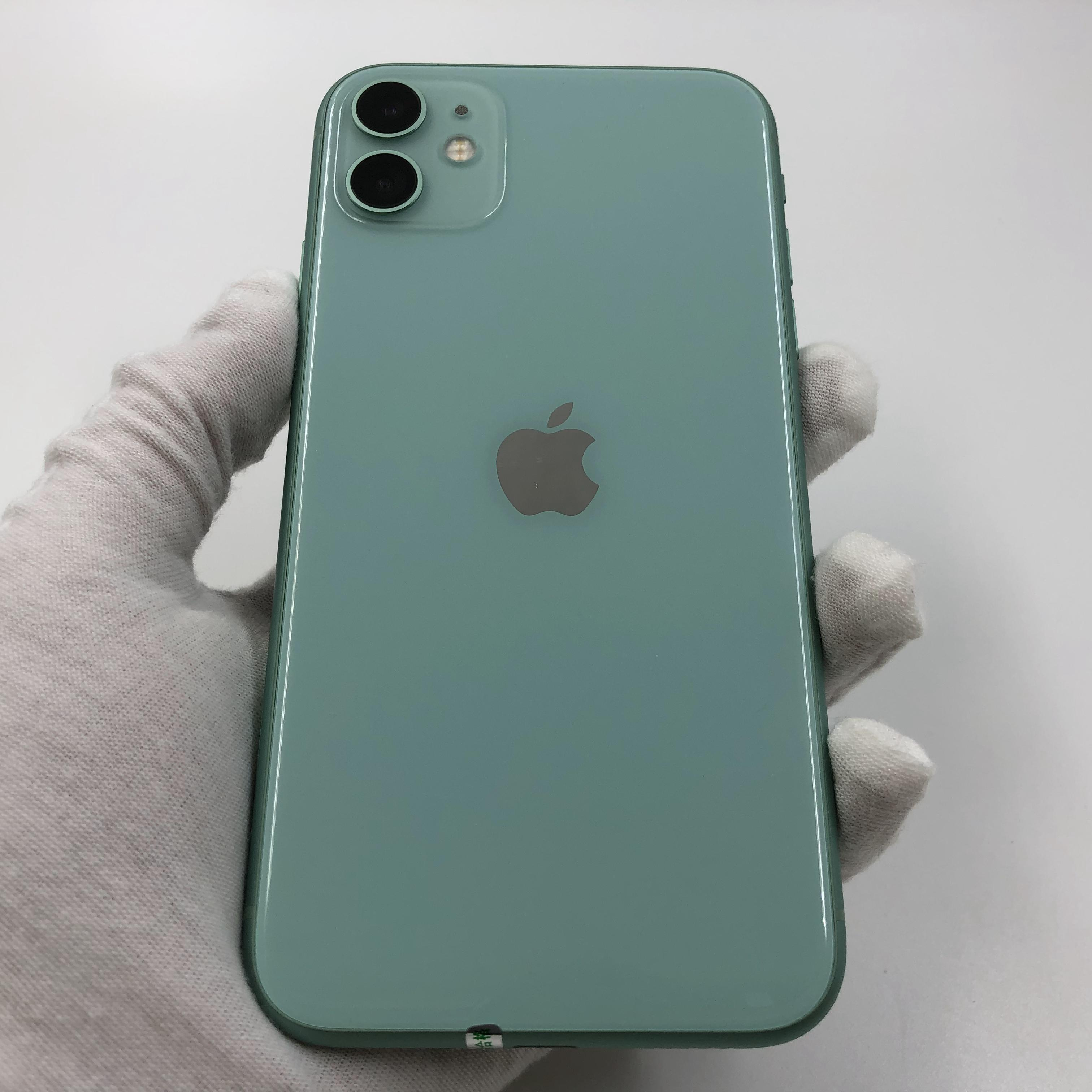 苹果【iPhone 11】4G全网通 绿色 64G 国行 95新 真机实拍官保2021-11-25